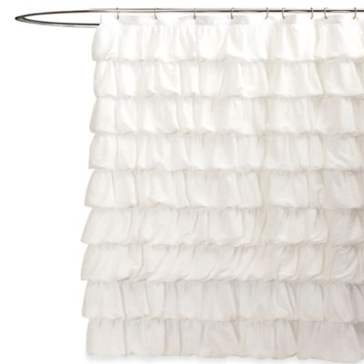 Ripple White Shower Curtain