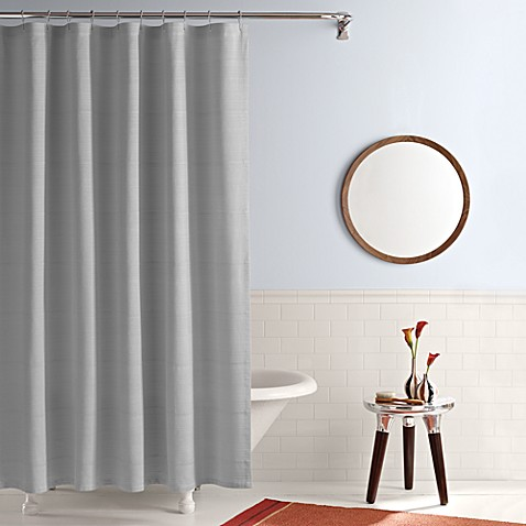 Buy real simple 174 shower curtain in linear grey from bed bath amp beyond