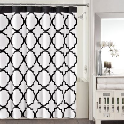 Studio 3B™ Jay Fret 72-Inch x 72-Inch Shower Curtain in Black/White