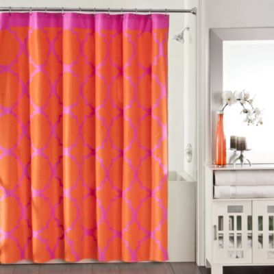 Studio 3B™ Jay Fret Shower Curtain in Pink/Orange