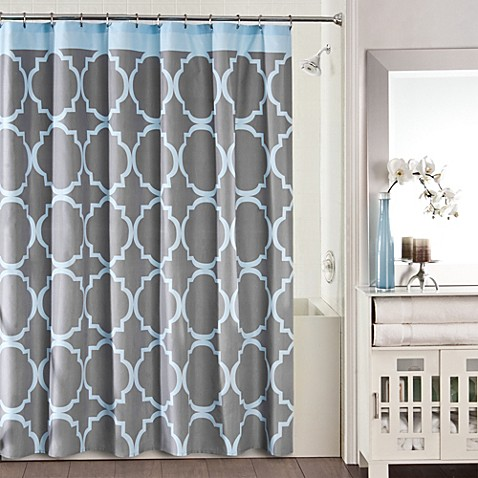 studio 3b jay fret shower curtain in grey blue bed bath