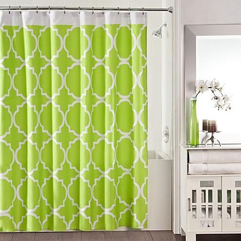 studio 3b jay fret shower curtain in green white bed bath beyond. Black Bedroom Furniture Sets. Home Design Ideas