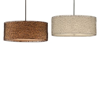 Uttermost Brandon 3-Light Metal Drum Pendant Light in Brown/Rust