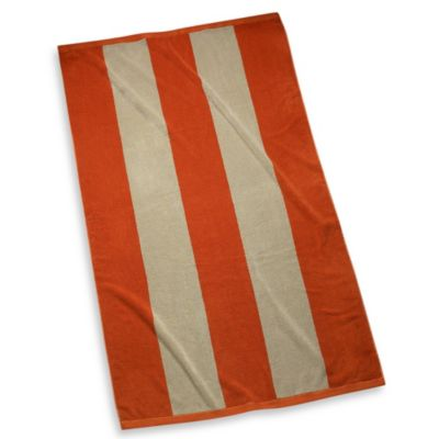 Luxury Striped Beach Towel in Bark