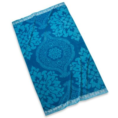 Blue Damask Beach Towel