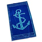 Blue Etched Anchor Beach Towel