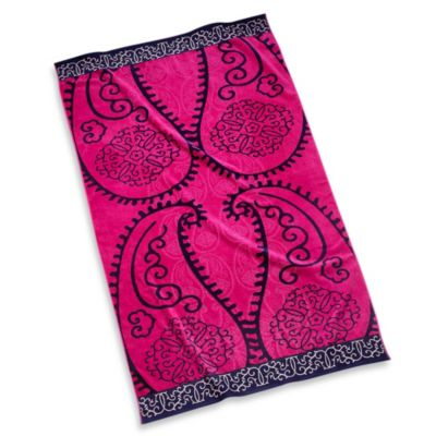 Beach Towel in Pink Paisley