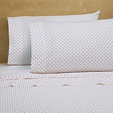 Cotton Percale 200 Thread Count Standard Pillowcases in Pink Dot (Set of 2)