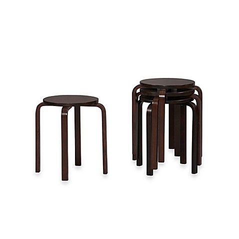 Linon Home Bentwood Stacking Stool in Wenge (Set of 4)
