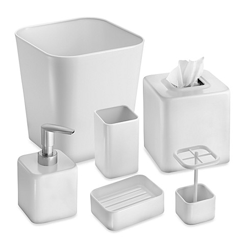 Interdesign gia white tumbler bed bath beyond for White bathroom tumbler