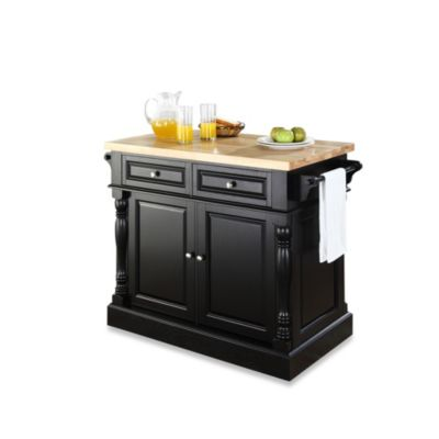 Crosley Butcher Block Hardwood Kitchen Island in Black