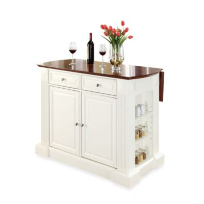 Crosley Furniture Hardwood Drop-Leaf Breakfast Bar Kitchen Island in White