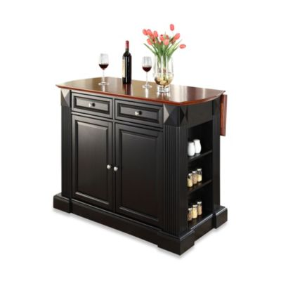 Crosley Furniture Hardwood Drop-Leaf Breakfast Bar Kitchen Island in Black