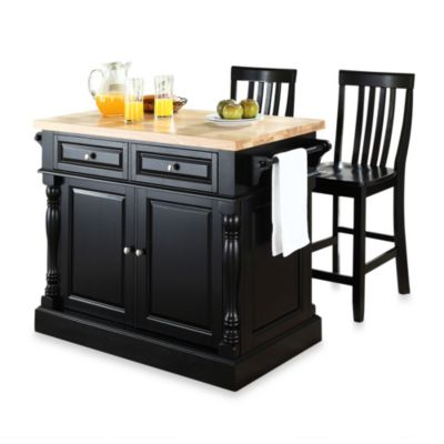 Crosley Butcher Block Black Kitchen Island with 24-Inch Black School House Stools
