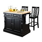 Crosley Butcher Block Kitchen Island with 24-Inch Black School House Stools
