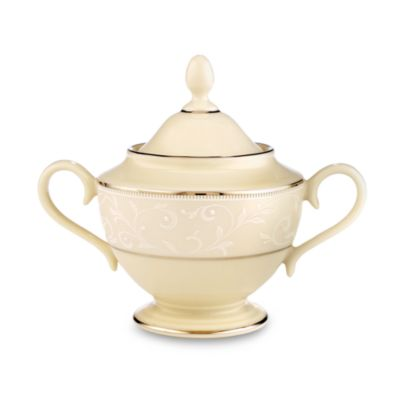 Lenox® Pearl Innocence™ Sugar Bowl in Ivory/Platinum