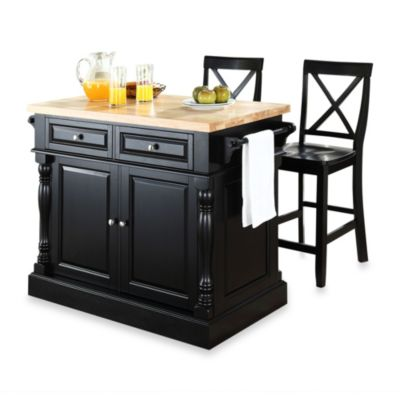 Crosley Butcher Block Black Kitchen Island with 24-Inch Black X-Back Stools