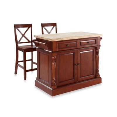Crosley Butcher Block Cherry Kitchen Island with 24-Inch Black X-Back Stools
