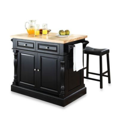 Crosley Butcher Block Top Kitchen Island with 24-Inch Black Upholstered Saddle Stools