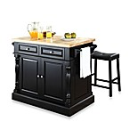 Butcher Block Top Kitchen Island with 24-Inch Black Upholstered Saddle Stools