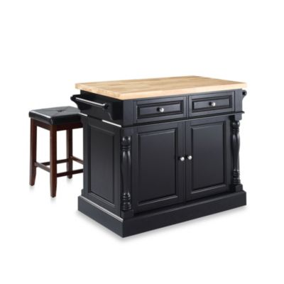 Crosley Butcher Block Top Kitchen Island in Black with Matching Stools