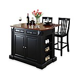 Crosley Drop Leaf Breakfast Bar Top Kitchen Island with 24-Inch Black School House Stools