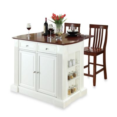 Crosley Drop Leaf Breakfast Bar Top Kitchen Island in White with 24-Inch Cherry School House Stools