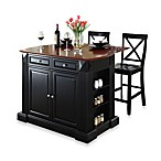Crosley Drop Leaf Breakfast Bar Top Kitchen Island with 24-Inch Black X-Back Stools