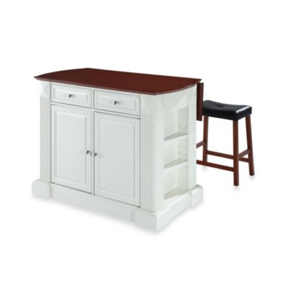 Drop Leaf Breakfast Bar Top Kitchen Island in White Finish with Upholstered Saddle Stools