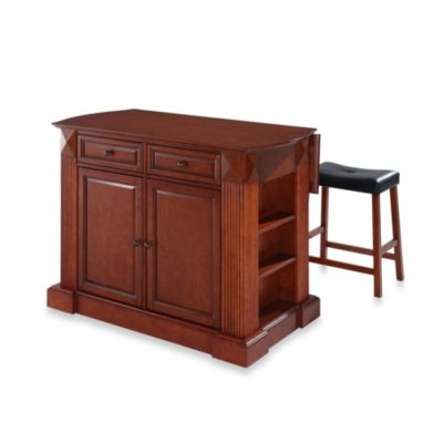 Drop Leaf Breakfast Bar Top Kitchen Island in Classic Cherry Finish with Upholstered Saddle Stools