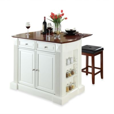Crosley Drop Leaf Breakfast Bar Top Kitchen Island with 24-Inch Cherry Square Seat Stools