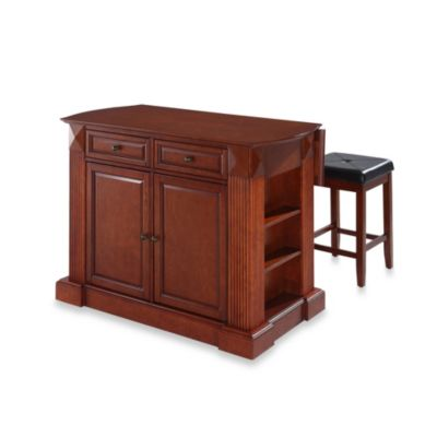 Crosley Drop Leaf Breakfast Bar Top Kitchen Island in Cherry with Cherry Square Seat Stools