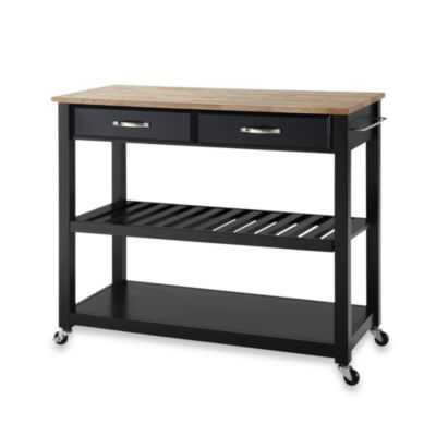 Crosley Natural Wood Top Rolling Kitchen Cart/Island With Removable Shelf in Black