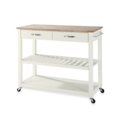 Crosley Natural Wood Top Rolling Kitchen Cart/Island With Removable Shelf in White