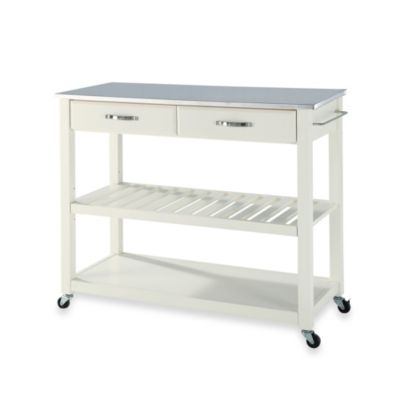 Crosley Stainless Steel Top Rolling Kitchen Cart/Island with Removable Shelf in White
