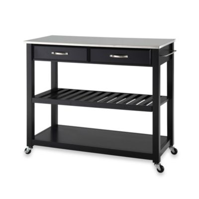 Crosley Stainless Steel Top Rolling Kitchen Cart/Island With Removable Shelf in Black