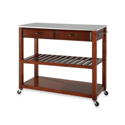 Crosley Stainless Steel Top Rolling Kitchen Cart/Island With Removable Shelf in Classic Cherry