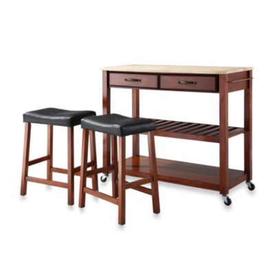 Crosley Natural Wood Top Kitchen Rolling Cart/Island and Upholstered Saddle Stools in Classic Cherry