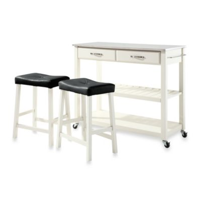 Crosley Stainless Steel Top Kitchen Rolling Cart/Island With Upholstered Saddle Stools in Cherry