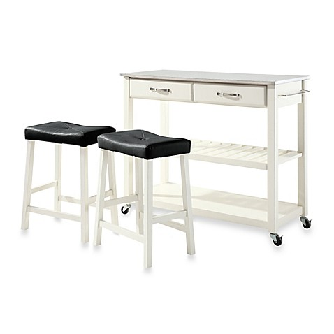 Crosley Stainless Steel Top Kitchen Cart/Island With 24-Inch Matching Upholstered Saddle Stools