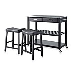 Crosley Granite Top Kitchen Cart/Island With 24-Inch Matching Upholstered Saddle Stools