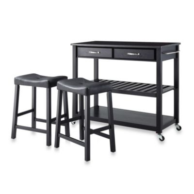 Crosley Solid Black Granite Top Rolling Kitchen Cart/Island With Upholstered Saddle Stools in Black
