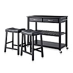 Crosley Solid Black Granite Top Kitchen Cart/Island With 24-Inch Matching Upholstered Saddle Stools