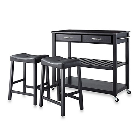 Crosley Solid Black Granite Top Rolling Kitchen Cart/Island With Matching Upholstered Saddle Stools