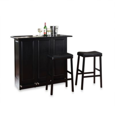 Crosley Folding Bar Cabinet with 29-Inch Saddle Stool in Black