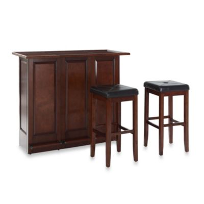Crosley Folding Bar with 29-Inch Matching Upholstered Square Seat Stool in Vintage Mahogany