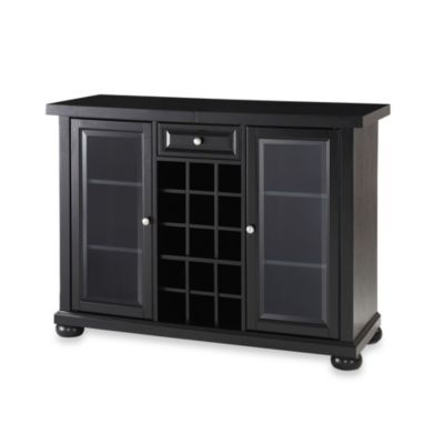 Crosley Alexandria Sliding Top Bar Cabinet in Black