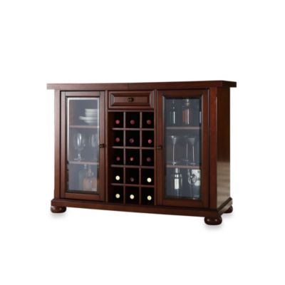 Crosley Alexandria Sliding Top Bar Cabinet in Mahogany