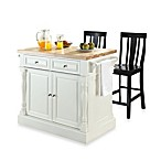 Crosley Butcher Block Top Kitchen Island with 24-Inch Shield Back Stools in White/Black