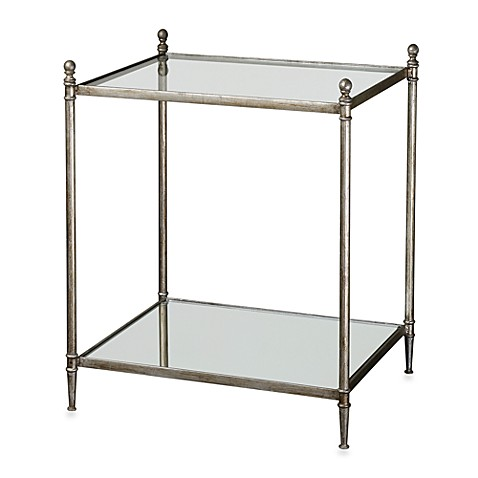 Uttermost Gannon Metal Mirrored Glass End Table